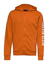 FULL ZIP HOODED JACKET - BURNT ORANGE