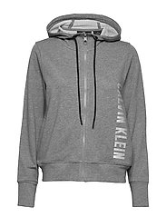 FULL ZIP HOODED JACKET - MEDIUM GREY HEATHER