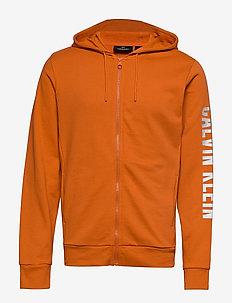 FULL ZIP HOODED JACKET - hoodies - burnt orange