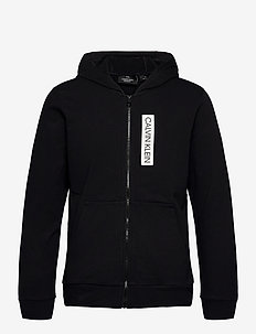 FULL ZIP HOODED JACKET - basic sweatshirts - ck black/bright white