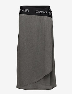 MIDI WRAP SKIRT - medium grey heather