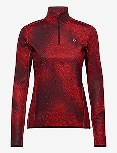 LONG SLEEVE 1/2 ZIP TOP - langarmshirts - ck black/flashing red