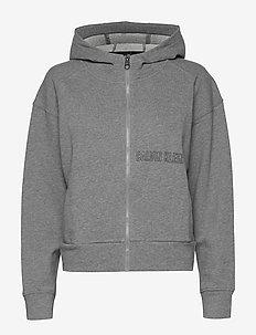 FULL ZIP HOODIE - med grey heather