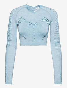WO - LONG SLEEVE SEAMLESS TOP - crop-topit - misty aqua