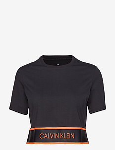 CROP SS TEE - CK BLACK/FIERY CORAL