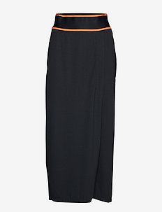 MIDI SKIRT - CK BLACK/FIERY CORAL