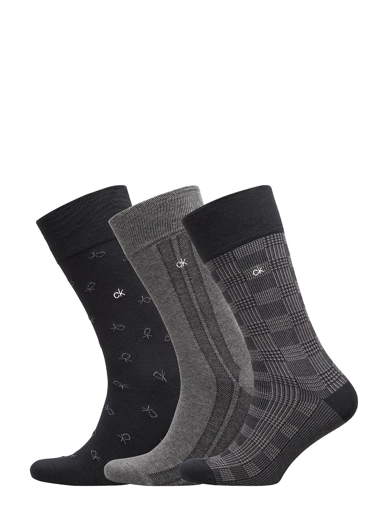 Calvin Klein CK 3PK TOMMY GIFT BOX CREW 96 - BLACK/CHARCOAL HTR/BLACK