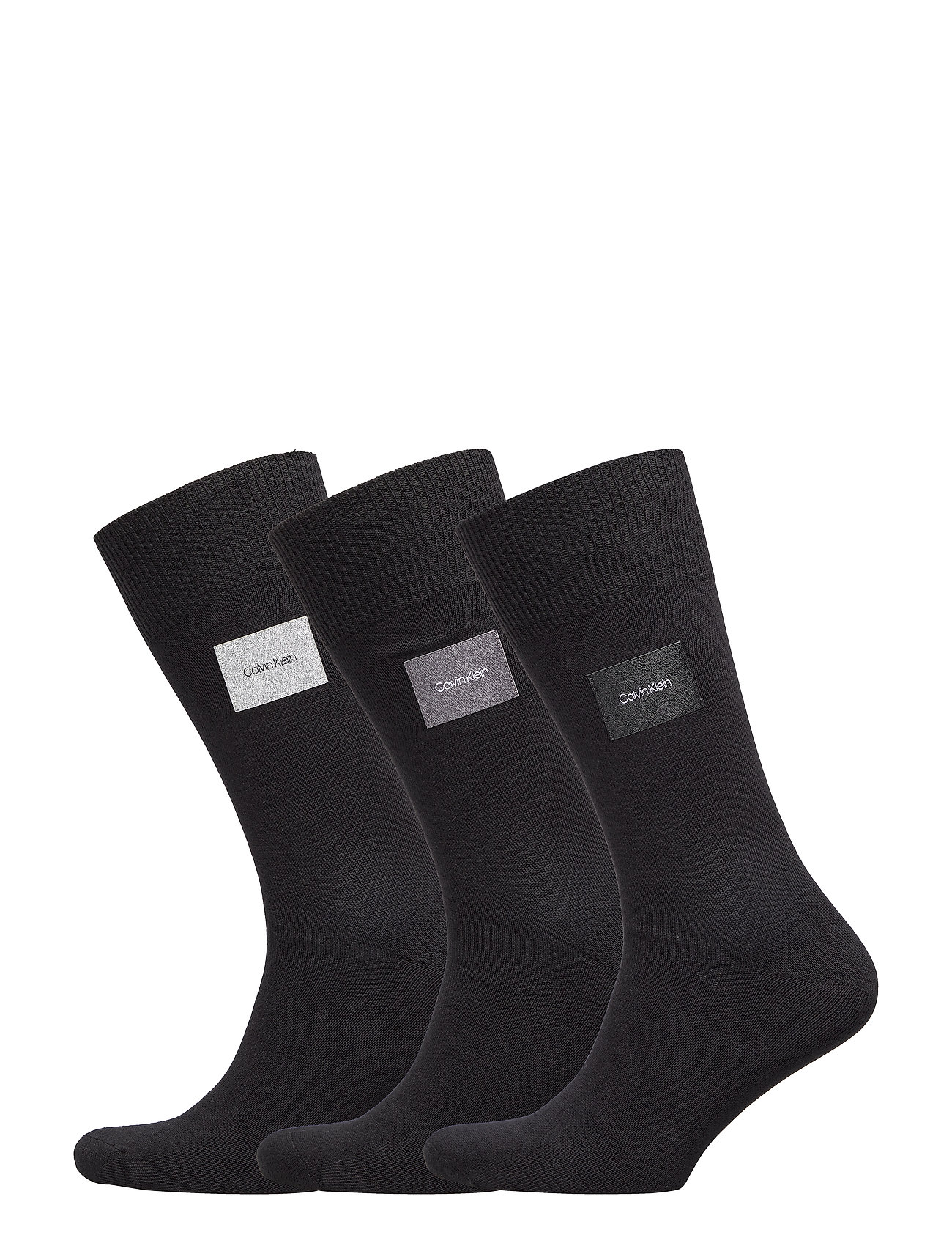 Calvin Klein CK 3PK FORBES FLAT KNIT PATCH CREW 00 - BLACK