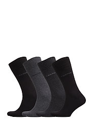 CK 4PK CREW SOCKS GIFT BOX 98 - BLACK - GREY