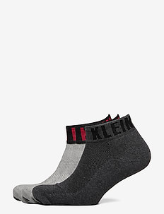 CK MEN QUARTER 3P LOGO CUFF DRAKE - ankelsokker - grey / black / red combo