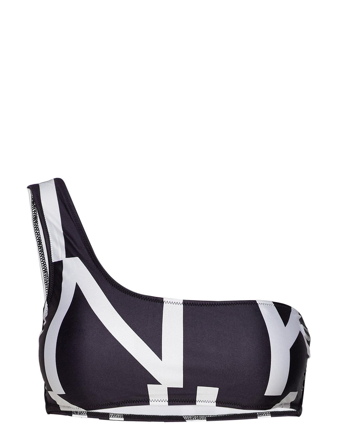 Calvin Klein ONE SHOULDER BRALETTE - KLEIN ABSTRACT BLACK