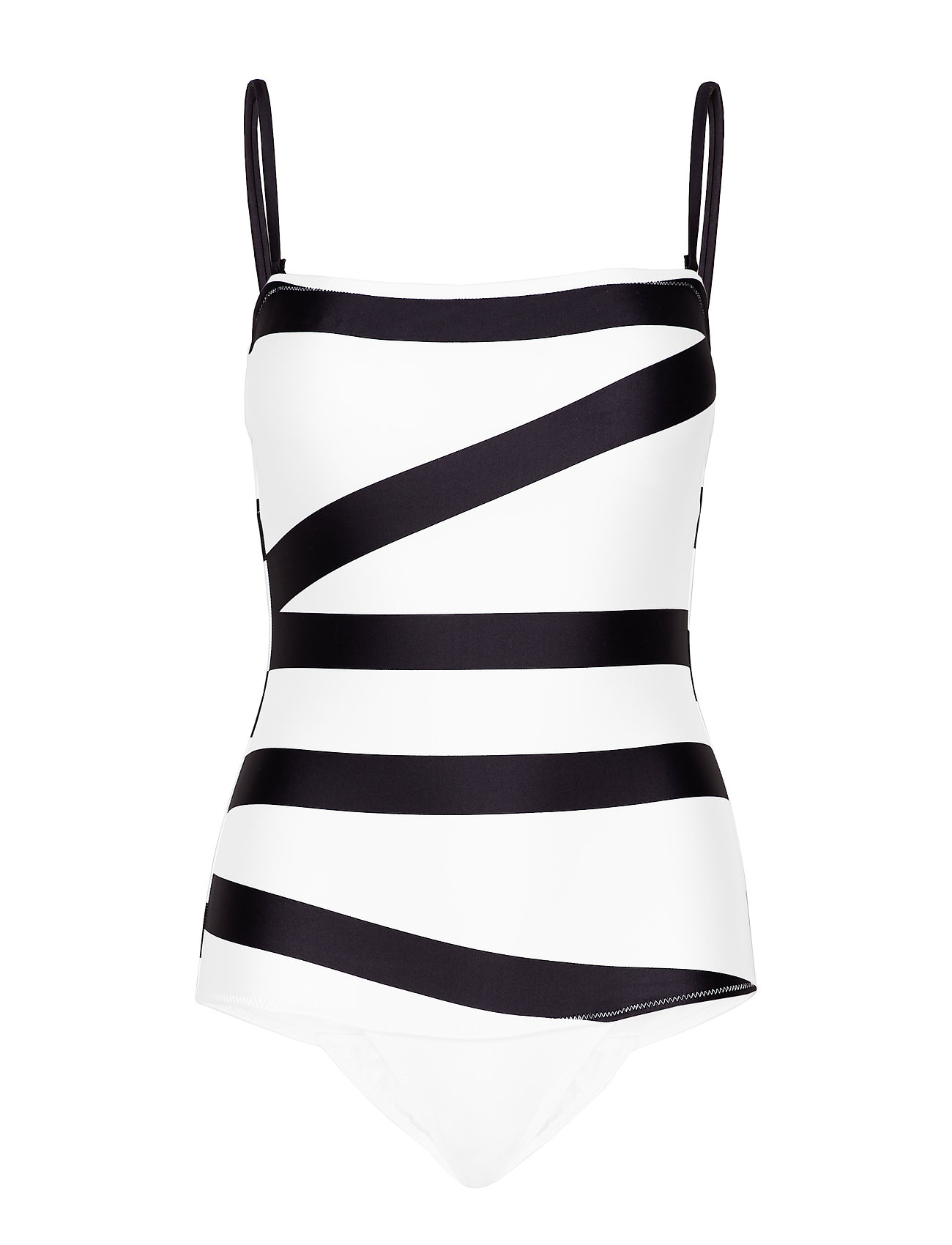 Calvin Klein BANDEAU ONE PIECE - KLEIN ABSTRACT WHITE