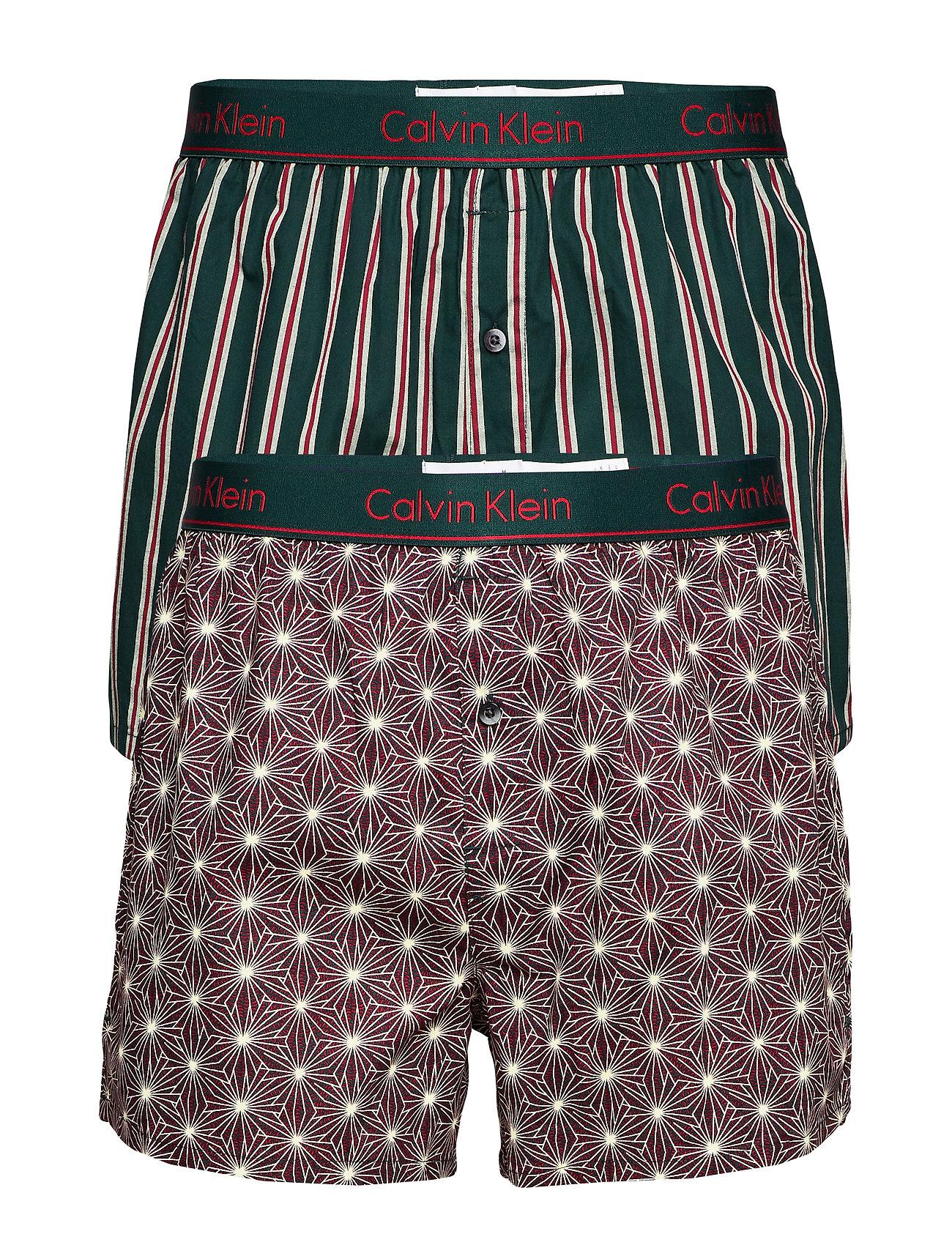 Calvin Klein BOXER SLIM 2PK - STAR WEB PRINT/ PAPER STRIPE