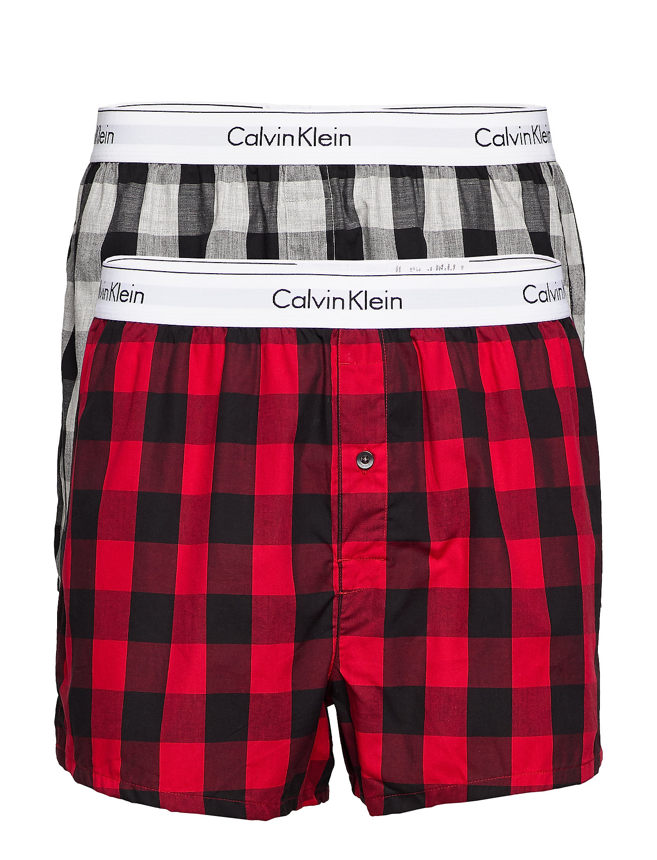 Calvin Klein BOXER SLIM 2PK - BUFFALO CHECK TEMPER / GREY HE
