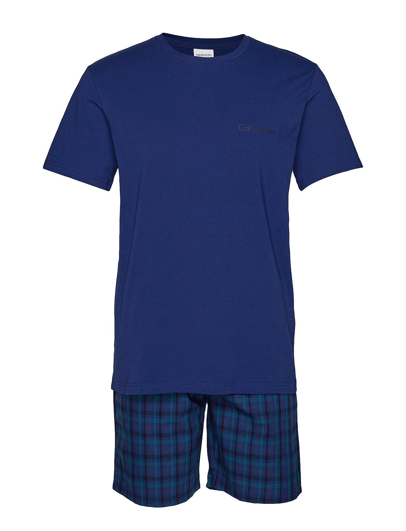 Calvin Klein S/S SHORT SET, KKG, - BLUE DEPTH TOP/MORNING PLAID