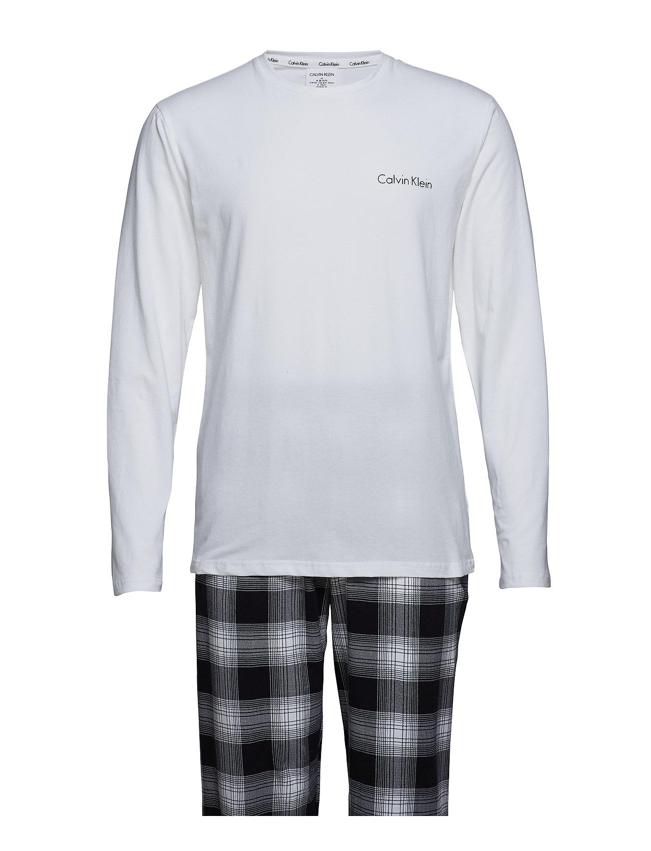 7141e1ebb3e WHITE TOP/SCHOOL PLAID BLACK Calvin Klein L/S Pant Set pyjamas for ...