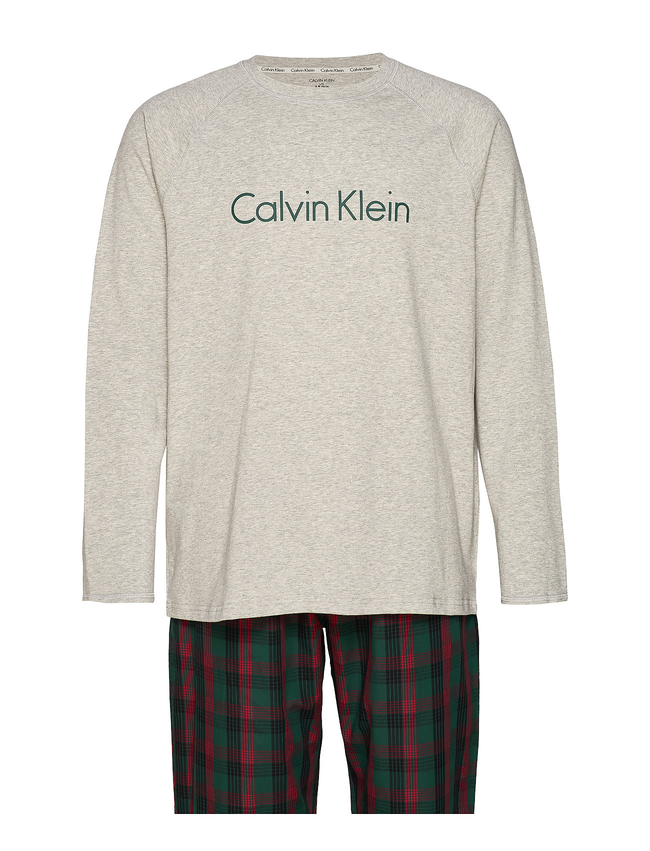 Calvin Klein WOVEN L/S PANT SET - GREY HEATHER TOP/ RANGE PLAID