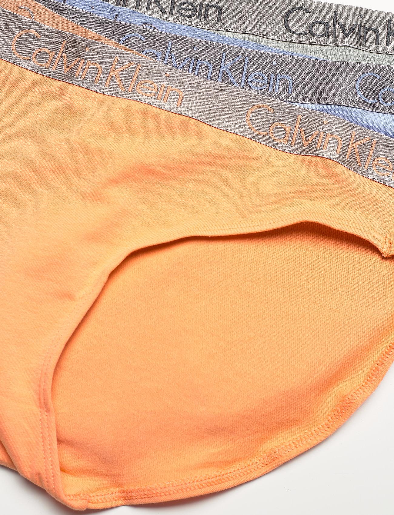 Calvin Klein - BIKINI 3PK - majtki - grey heather/pale blue/flambe - 1