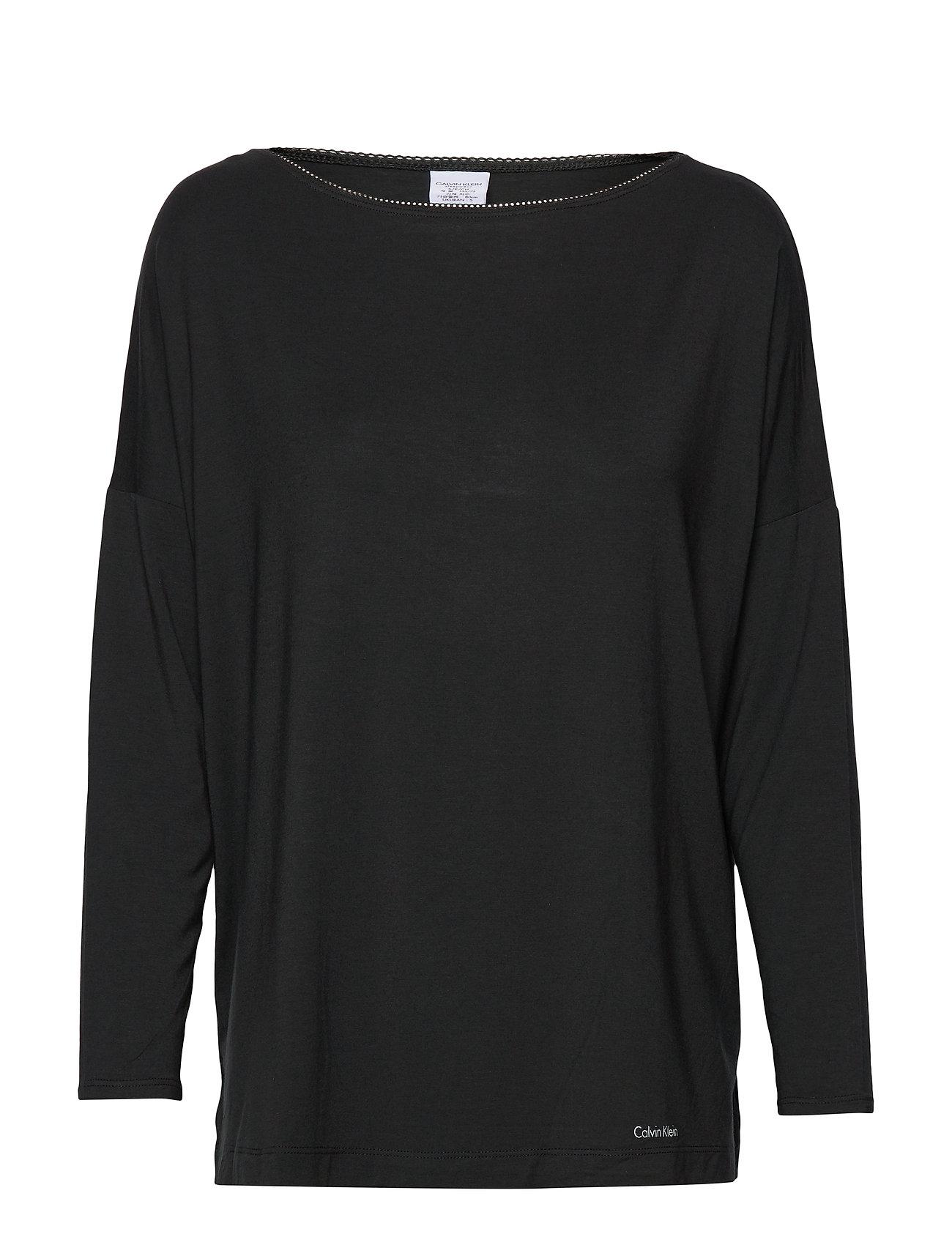 Calvin Klein L/S WIDE NECK - BLACK