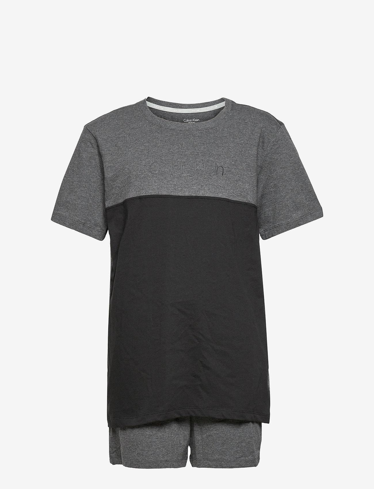 Calvin Klein - KNIT PJ SET (SS+SHORT) - pyjamas - grey heather - 0