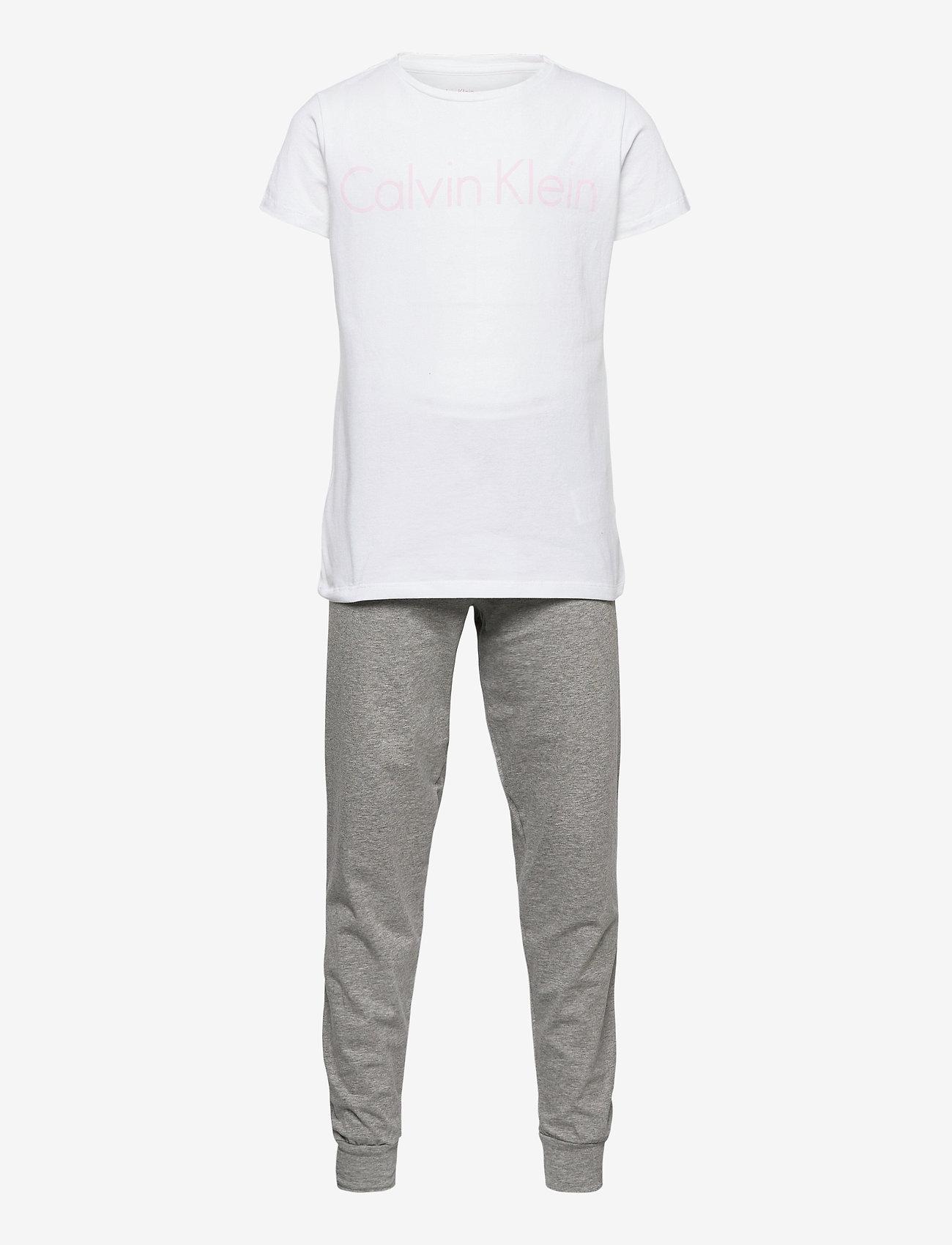 Calvin Klein - SS KNIT PJ SET - ondergoedsets - white/grey htr - 0