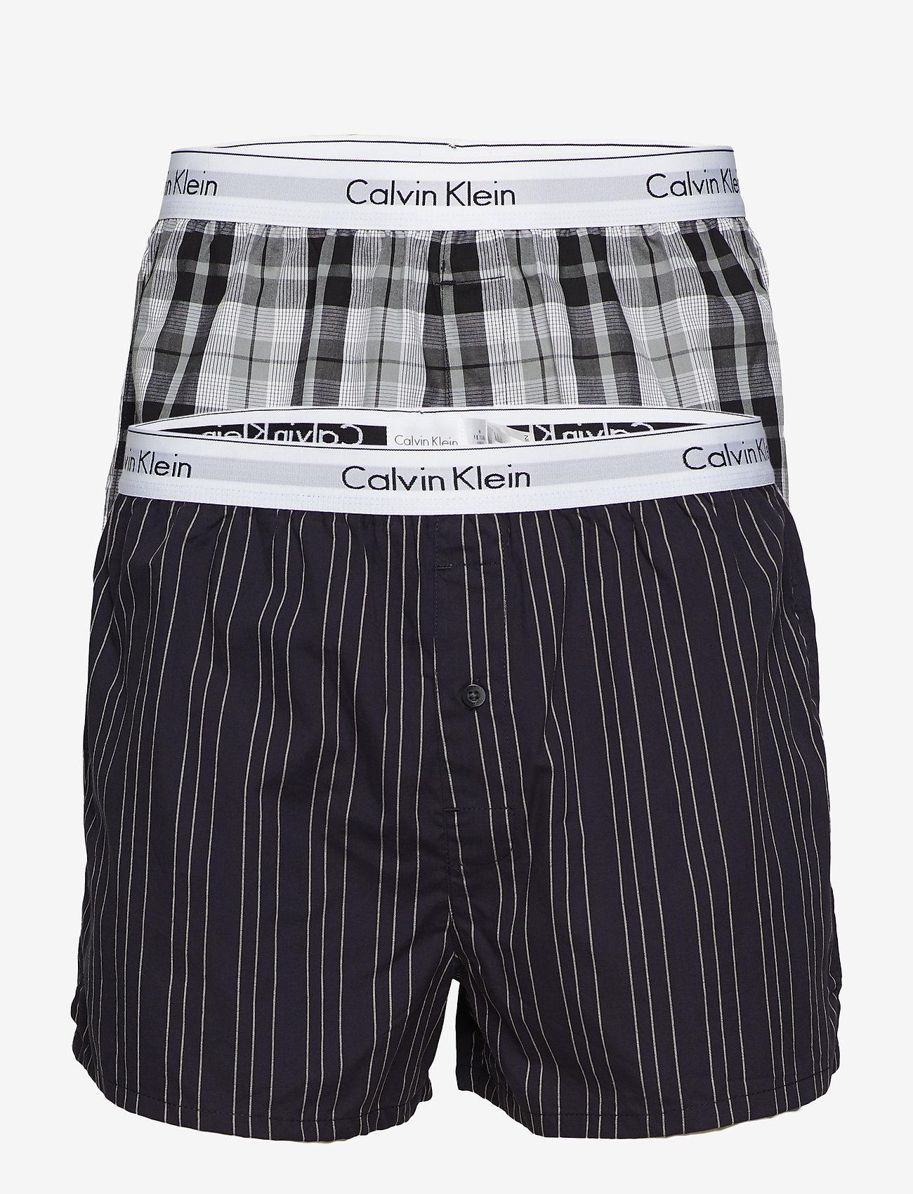 Calvin Klein - BOXER SLIM 2PK - boxershorts - ryan stripe d well/ hickory pl - 0