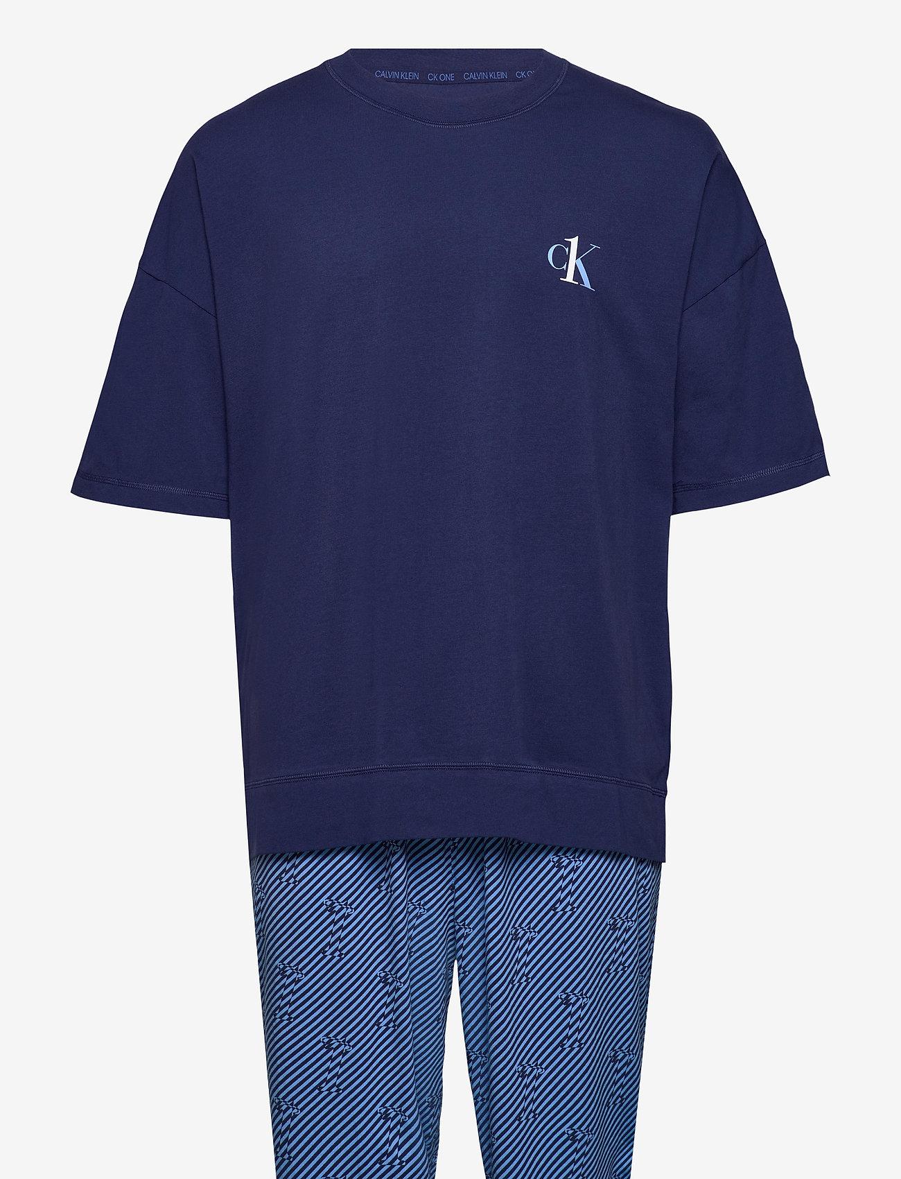 Calvin Klein - S/S JOGGER PJ SET - pyjamas - blue top/ numero uno stripe bo - 0