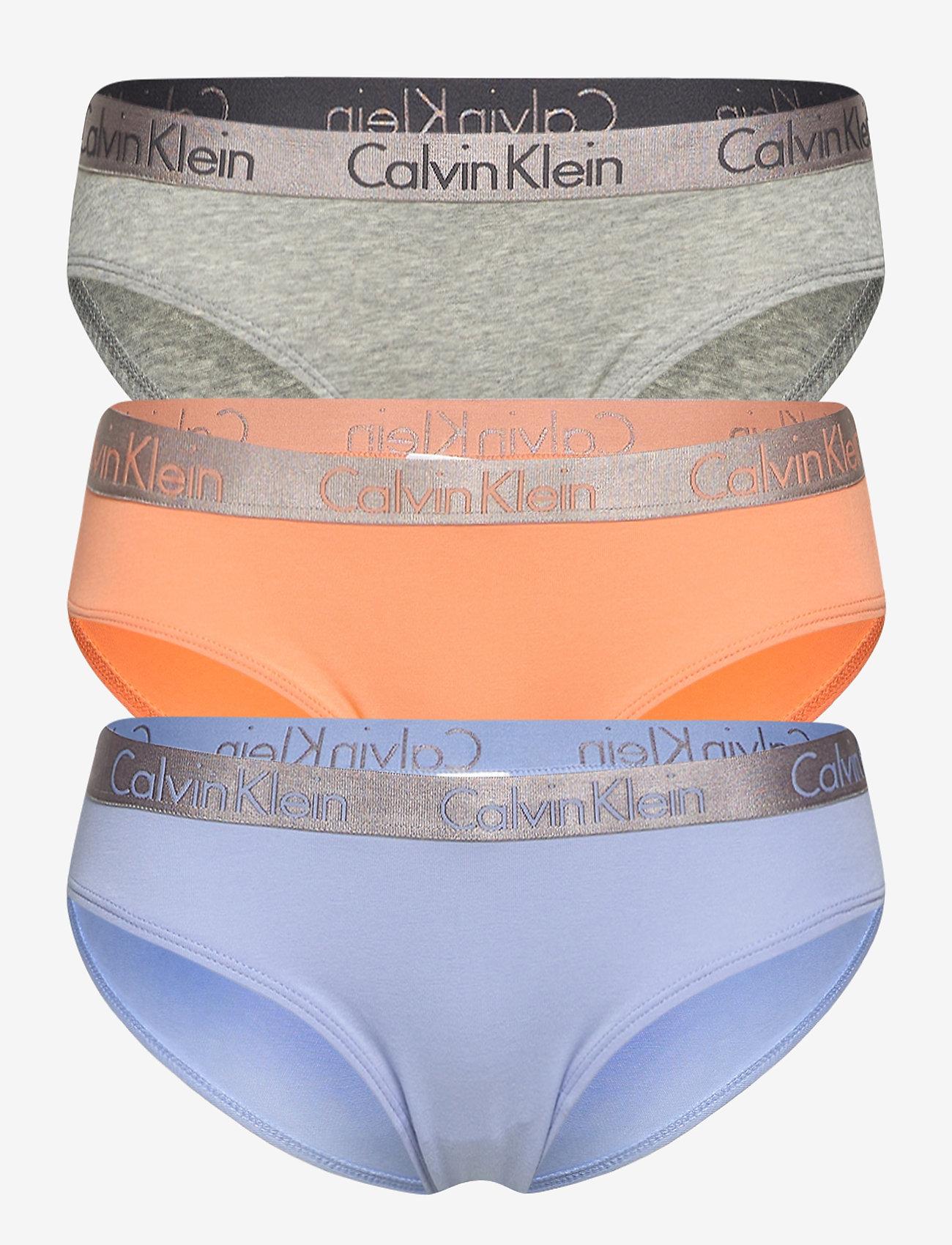 Calvin Klein - BIKINI 3PK - majtki - grey heather/pale blue/flambe - 0