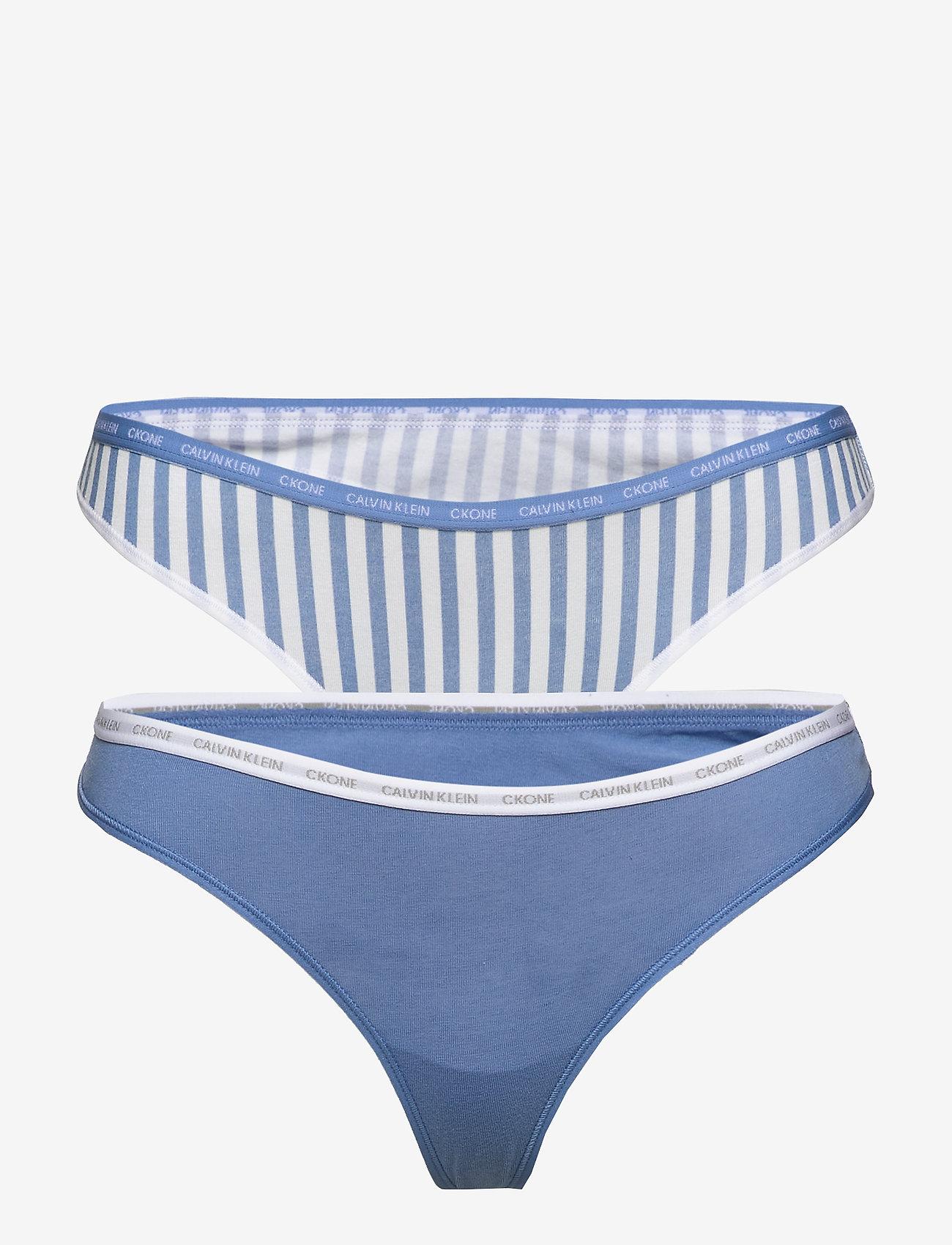 Calvin Klein - THONG 2PK - stringi - azure/marching stripe_azure