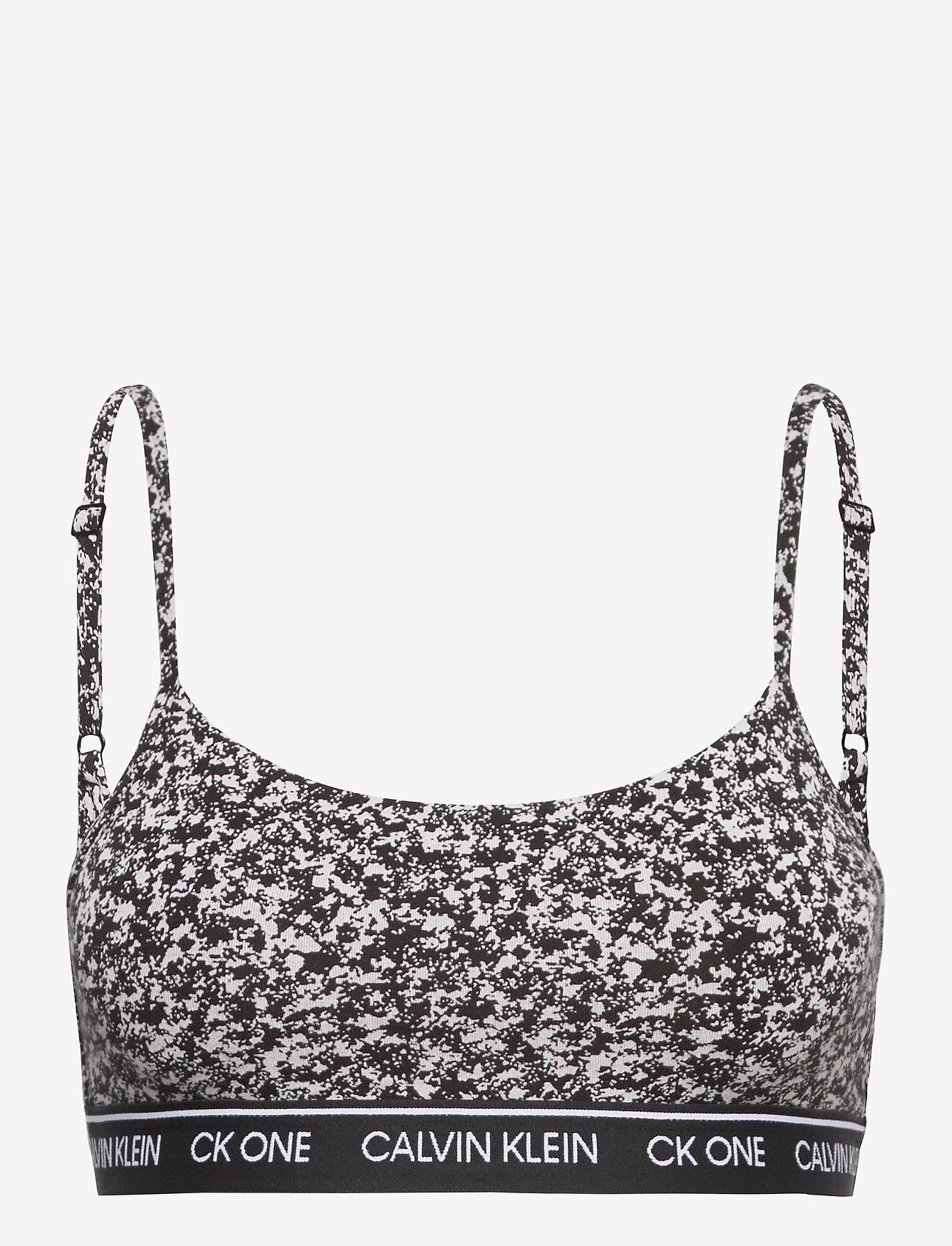 Calvin Klein - UNLINED BRALETTE - miękkie biustonosze - composition print_black - 0