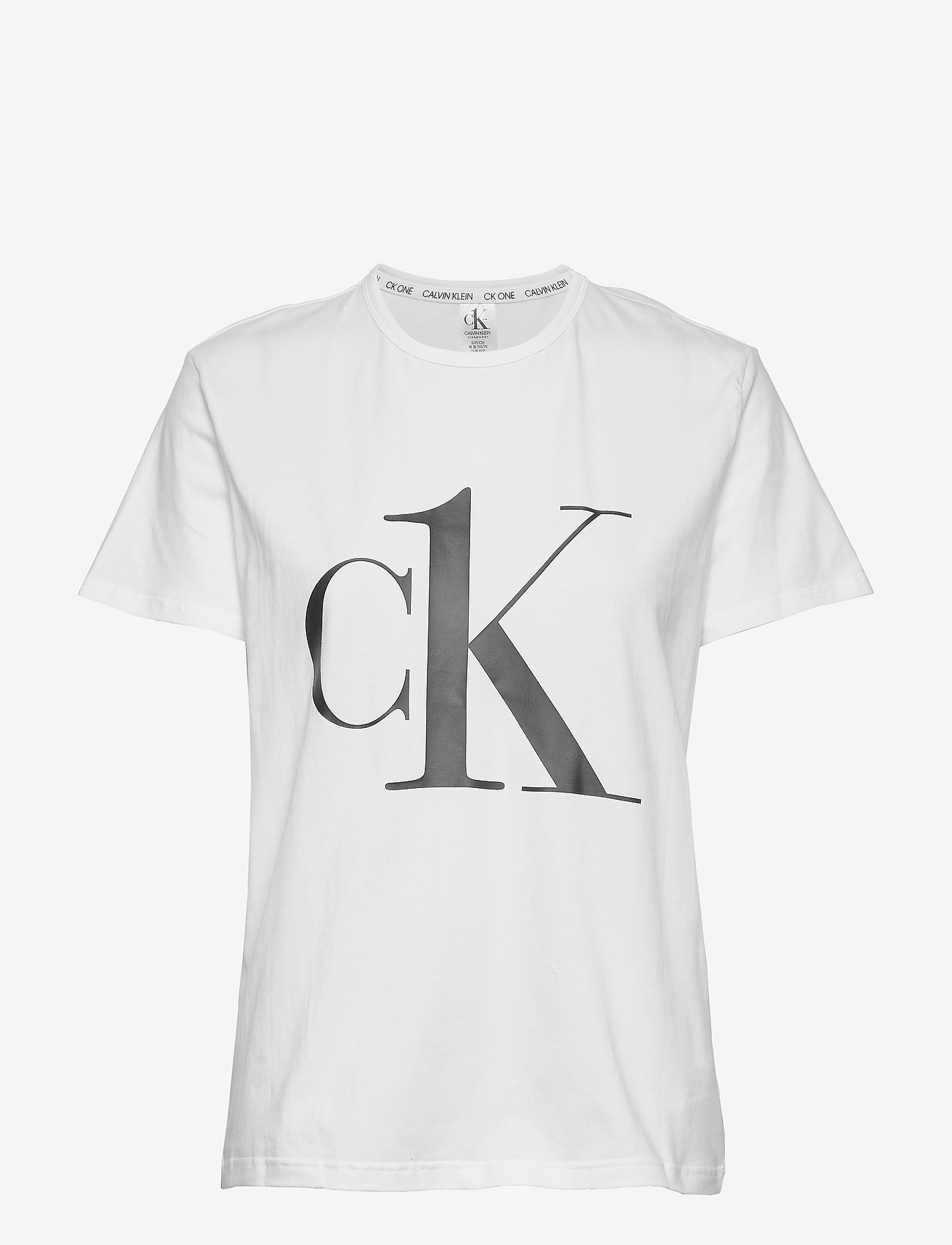 Calvin Klein - S/S CREW NECK - t-shirty - white_black logo - 0