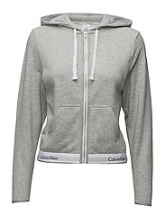 TOP HOODIE FULL ZIP - GREY HEATHER
