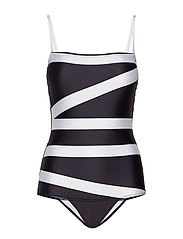BANDEAU ONE PIECE - KLEIN ABSTRACT BLACK
