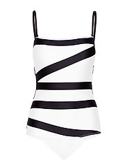 Calvin Klein BANDEAU ONE PIECE - KLEIN ABSTRACT WHITE