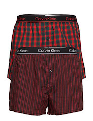 BOXER SLIM 2PK - MADISON CHECK M RED/BRIDGE STR