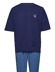 S/S JOGGER PJ SET - BLUE TOP/ NUMERO UNO STRIPE BO