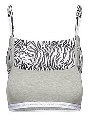 UNLINED BRALETTE 2PK - GREY HEATHER/GLASS TIGER PRINT