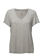S/S V NECK - GREY HEATHER
