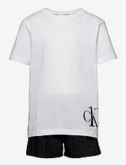 Calvin Klein - WOVEN PJ SET (SS+SHORT) - 2-delte sæt - pvhwhite/w/pvhblack - 0