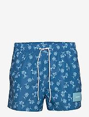 Calvin Klein - SHORT DRAWSTRING-PRINT - badehosen - palm tree repeat snorkel blue - 0