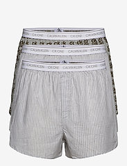 Calvin Klein - SLIM FIT BOXER 3PK - boxershorts - cozy stripe/ g heather/ ck one - 0