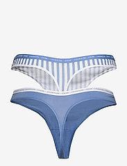 Calvin Klein - THONG 2PK - stringi - azure/marching stripe_azure - 2