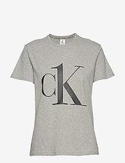 Calvin Klein - S/S CREW NECK - t-shirty - grey heather_black logo - 0
