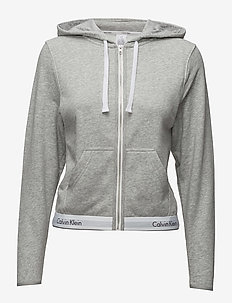 TOP HOODIE FULL ZIP - Överdelar - grey heather