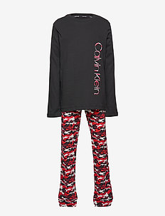 KNIT PJ SET (LS+CUFF - 1BLACK/1CHINESEREDCAMO