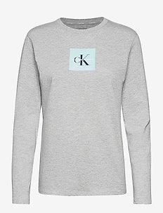 KNIT PJ SET (LS+CUFFED) - zestawy - greyheatherw/pvhblack