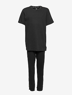 KNIT PJ SET (SS+CUFFED PANT) - sæt - pvh black
