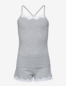 KNIT PJ SET (CAMI+SH - GREY HEATHER