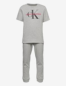 KNIT PJ SET (SS+CUFFED) - sets - grey heather bc05