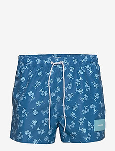 SHORT DRAWSTRING-PRINT - badehosen - palm tree repeat snorkel blue
